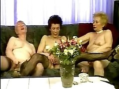 Three old lesbians relax in orgy