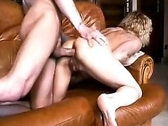Blonde granny gets cumload on boobs