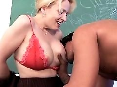 Blonde teacher has hot sex in classroom
