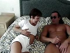 Mature does blowjob and fucks in bedroom