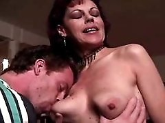 Hot  mature sucks and jumps on cock