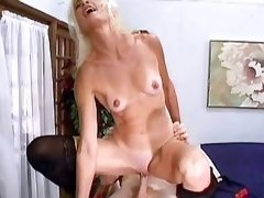 Hot mature gets cum on face n tits