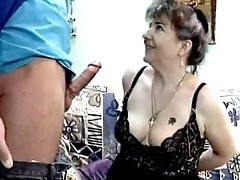 Chubby mature gets facial after sex